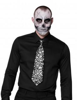 Dia de los Muertos Halloween-Krawatte mit Totenschädelmuster Kostümzubehör schwarz-weiss