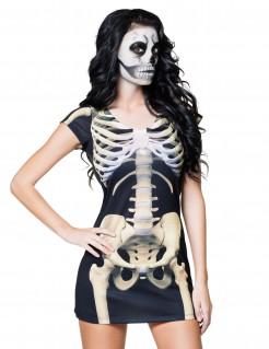 Sexy Skelett Kleid Halloweenkostüm für Damen schwarz-weiss