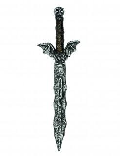 Kunststoff-Schwert mit Totenkopf Krieger-Schwert schwarz-silber 54cm