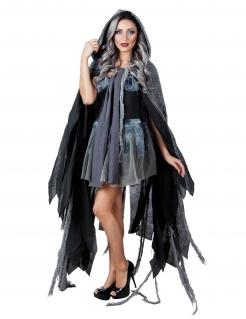 Schauriger Geisterumhang Halloween-Fetzenmantel schwarz-grau 150cm