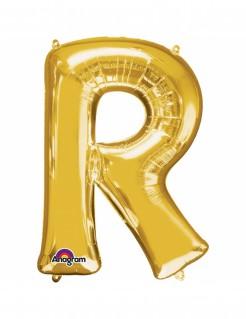Aluminium-Ballon Buchstabe R gold 33cm