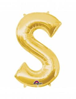 Aluminium-Ballon Buchstabe S gold 33cm
