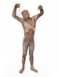 Zombie Kinder Morphsuit Halloween grau-braun