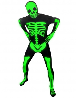 Morphsuit Skelett Ganzkörperanzug nachtleuchtend Halloween schwarz-weiss