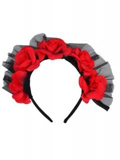 Haarreif Tag der Toten mit Rose und Tüll schwarz-rot