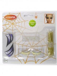 Halloween Schminkset Spinnenfrau für Damen bunt