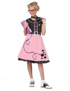 50er-Jahre-Kostüm mit Stickern für Mädchen schwarz-rosa
