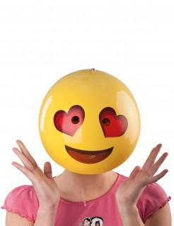 Maske Smiley Herzaugen gelb