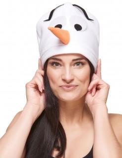 Mütze Schneemann weiss-schwarz-orange