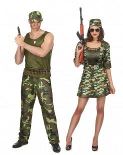 Soldaten-Paarkostüm für Erwachsene grün-braun-schwarz