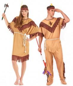 Indianer-Paarkostüm für Erwachsene Karneval braun