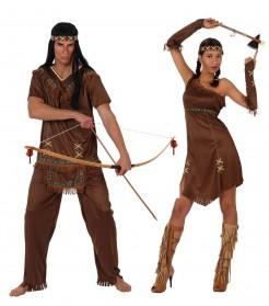 Indianer-Partnerkostüm Erwachsene Karneval braun