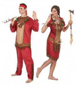 Indianer Paarkostüm für Erwachsene rot-braun-grün