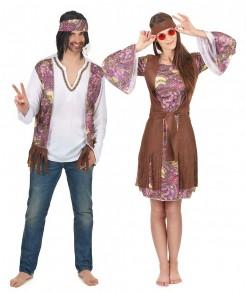 Hippie-Paarkostüm für Erwachsene bunt