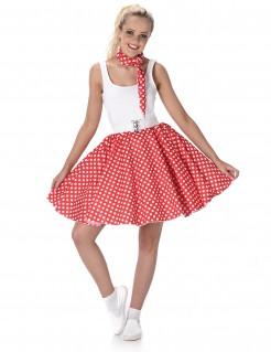 50er-Jahre Rockabilly Petticoat-Rock mit Halstuch rot-weiss