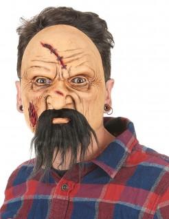 Biker Latex Maske Mann mit Fleischwunden für Herren