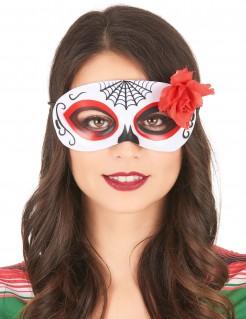Tag der Toten Sugar Skull Augenmaske mit Rose weiss-schwarz-rot
