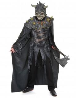 Skelett Krieger Halloween Latex-Maske Totenkopf grau-schwarz