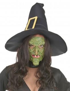 Hexen Vollmaske für Damen grün