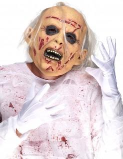 Latex Halloween Maske leidender Zombie für Erwachsene bunt