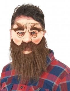 Holzfäller-Maske Bärtiger Mann-Latexmaske braun-hautfarbe