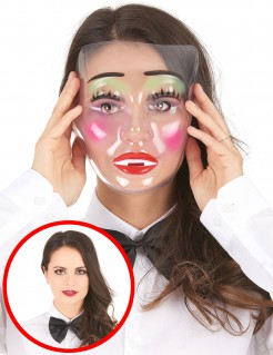 Dame mit Make-Up Maske transparent-bunt