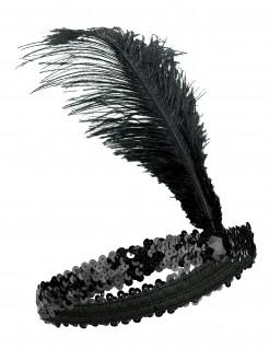 20er Charleston Pailetten-Stirnband mit Federn schwarz