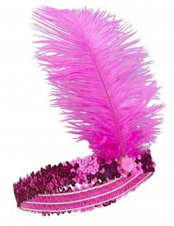 20er Jahre Pailletten-Haarband mit Feder pink