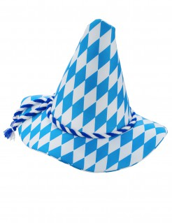Traditioneller Bayern-Hut mit Band blau-weiss