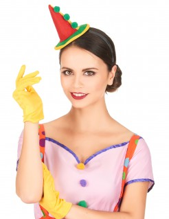 Clownfrau Minihut mit Haarreif bunt