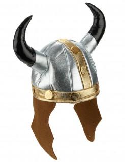Wikingerhelm Metall-Look mit Hörnern bunt