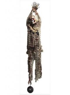 Deko-Skelett Gefangener zum Aufhängen mit leuchtenden Augen grau-beige-rot 2,1m