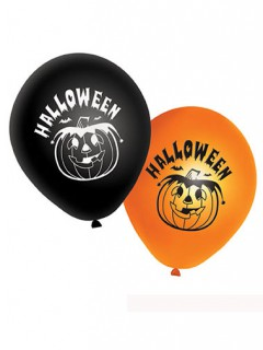 Halloween-Luftballons Kürbis-Partyballons 20 Stück schwarz-orange-weiss 27cm