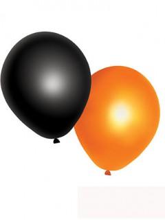 Halloween-Luftballons 10 Stück schwarz-orange