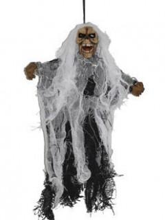 Skelett-Geist Halloween-Hängedeko schwarz-beige 25cm