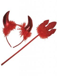 Teufelsset Teufelinnen-Accessoires Hörner und Teufelsgabel 2-teilig rot