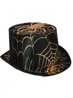 Halloween-Zylinder Spinnennetz-Muster schwarz-gold