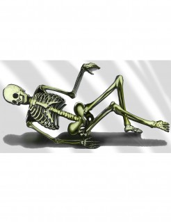 Skelett-Wanddeko liegender Untoter weiss-schwarz-grün 75x150cm