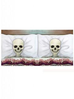 Skelett-Kissenhüllen Halloween-Kissenhüllen 2 Stück beige-schwarz-weiss 53x81cm