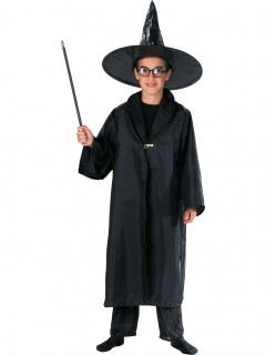 Zauberer Umhang Kinderkostüm schwarz