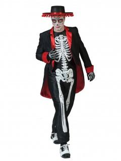 Dia de los Muertos Halloween-Herrenkostüm schwarz-rot-weiss
