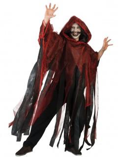 Halloween Umhang Horror Geist für Erwachsene schwarz-rot