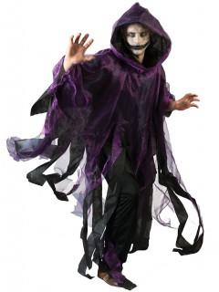 Halloween Umhang Horror Geist für Erwachsene schwarz-violett