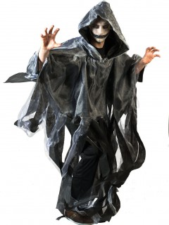 Halloween Umhang Horror Geist für Erwachsene schwarz-weiss