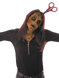 Schere im Kopf Halloween-Haarreif grau-rot