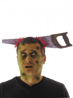 Säge im Kopf Halloween-Haarreif grau-rot-kupfer