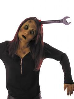 Halloween Haarreif blutiger Schraubenschlüssel im Kopf grau-rot