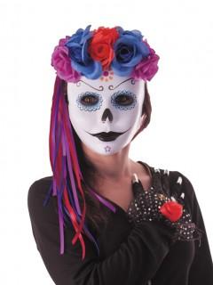 Haarband Rosen mit Satinbändern lila-violett-rot