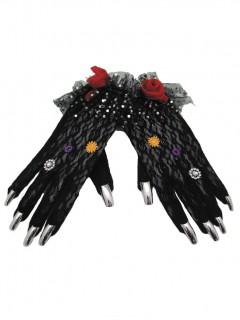 Verzierte Hexen-Handschuhe mit Fingernägeln schwarz-silber-bunt