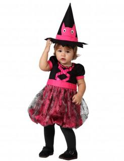 Kleine Hexe Halloween Kinderkostüm schwarz-pink